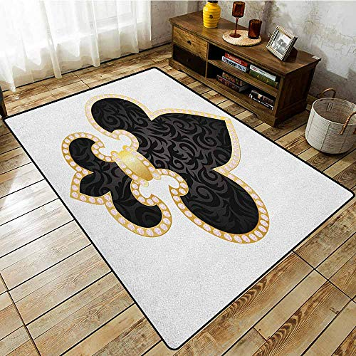 - Rectangular Rug,Fleur De Lis,Royal Legend Lily Throne France Empire Family Insignia of Knights Image,Extra Large Rug Black Gold White