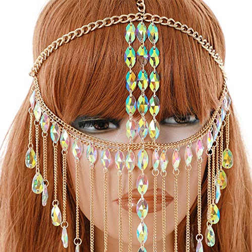 CCbodily Masquerade Mask Ball Metal Rhinestone Mask Face