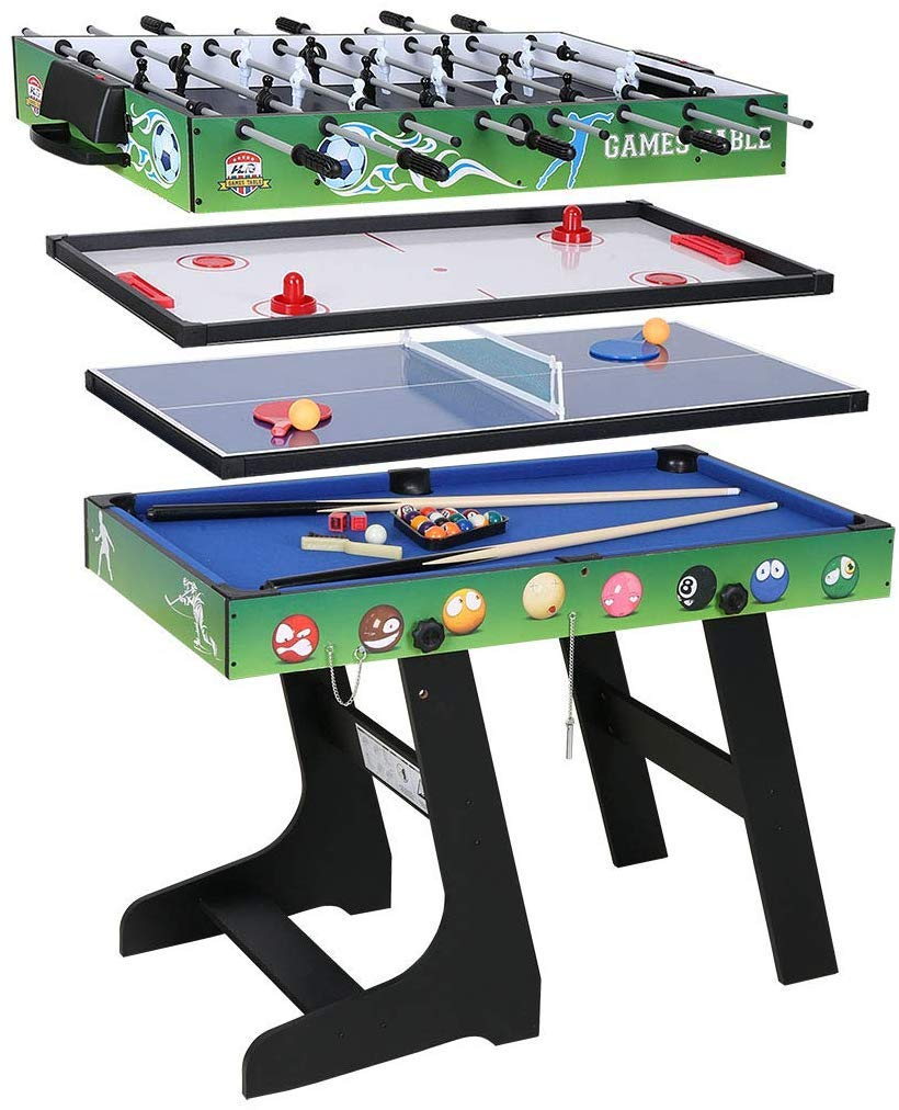 - AHHC 4 In 1 Folding Multi Sports Game Table Combo Table, Pool