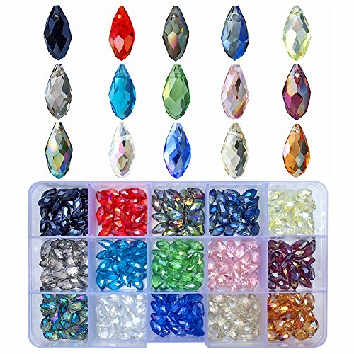 Chengmu 6x12mm Teardrop Glass Beads for Jewelry Making Faceted Horizontal Hole Shape 300pcs AB Colour Crystal Spacer Beads Assortments Supplies for Bracelet Necklace with Elastic Cord Storage Box