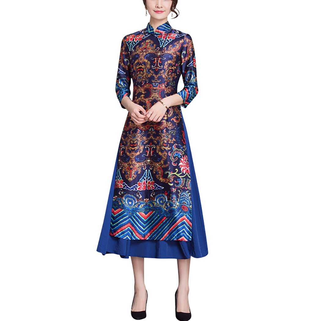 HÖTER Women's Traditional Vintage Floral Printed Two Layer Qipao Cheongsam Long Dress with Sleeves