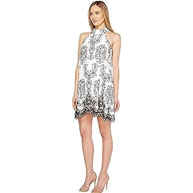 8374d234bc3 Badgley Mischka Women s Embroidered Linen Trapeze Dress White Black Dress