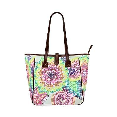 bb706673e Amazon.com: Interestprint Custom Classic Women Top Handbag Rainbow Mandala  Paisley Classic Tote Bag: Shoes