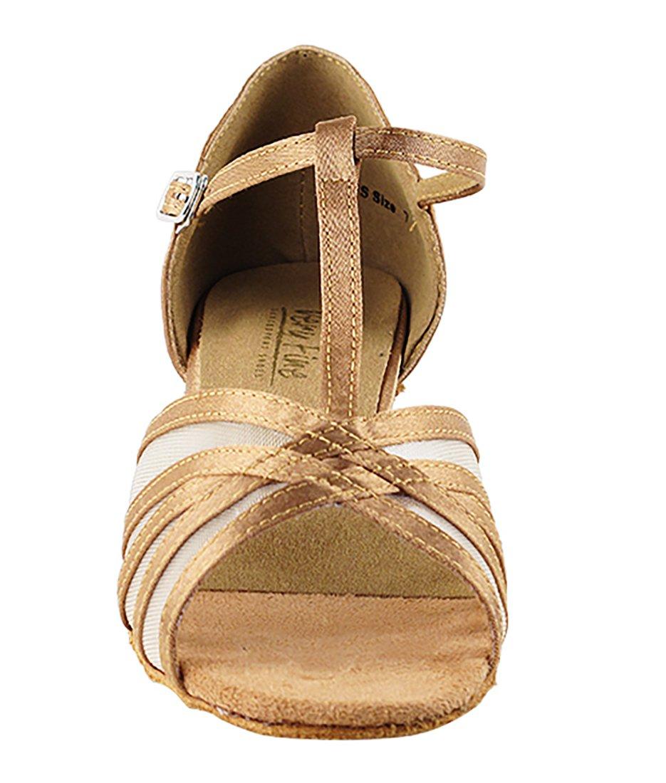 Very Fine Ballroom Latin Tango Salsa Dance Shoes for Women 16612 1.3-inch Heel + Foldable Brush Bundle - Brown Satin - Flesh Mesh - 7.5 by Very Fine Dance Shoes (Image #3)