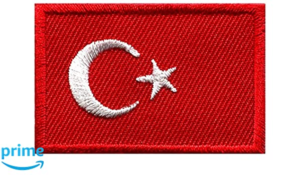 Bandera de Turquía turco Star Crescent Moon bordado Applique Iron-on Patch: Amazon.es: Hogar