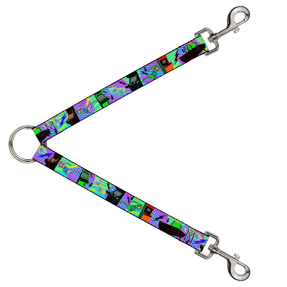 Buckle-Down DLS-W30510 Leash Splitter-Eighties Arcade Multi Neon Stripes, 1  W-30  L