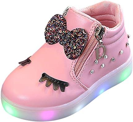 Chaussure Enfants Fille LED Basket de Bow Sneakers Enfant Bottes De Neige Tonsi