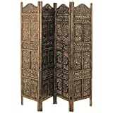 Cheap Whole House Worlds The Global Chic Sun, Moon and Star 4 Panel Room Divider of Hand Carved Sustainable Mango Wood, 78 X ¾? Wide X ¾? Deep X 71? Tall (200 Wx2d X 180h Cm) By