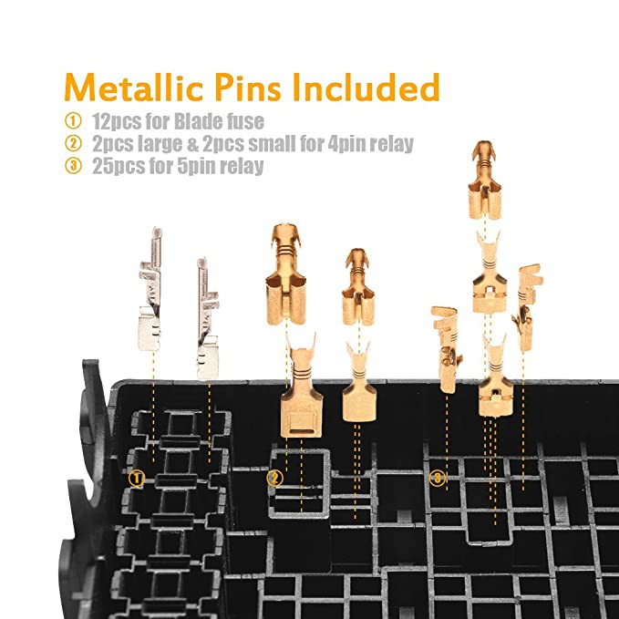 6 Relays /& 6 ATC//ATO Fuses CyanHall 12-Slot Relay Box Holder Block with 41pcs Metallic Pins for Automotive and Marine Engine Use