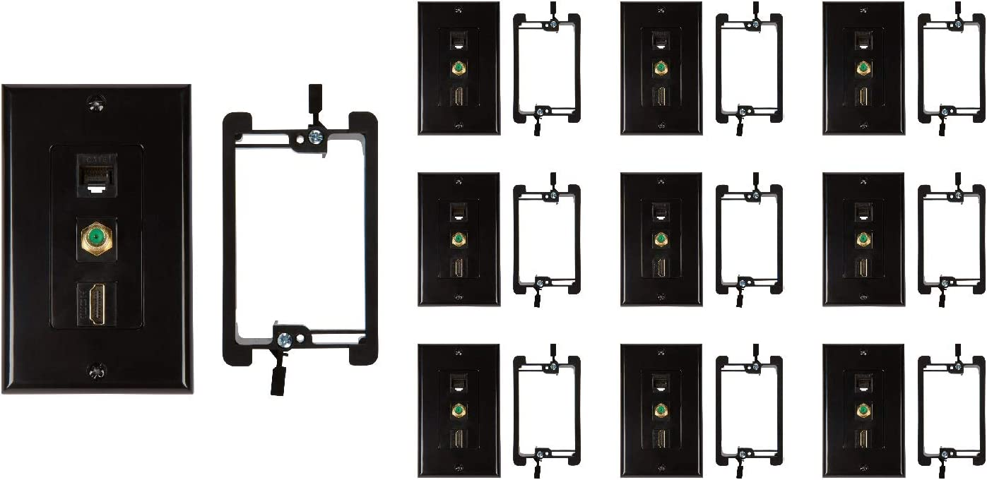 Buyer/'s Point HDMI and Cat6 Ethernet RJ45 Wall Plate with Single Gang Low