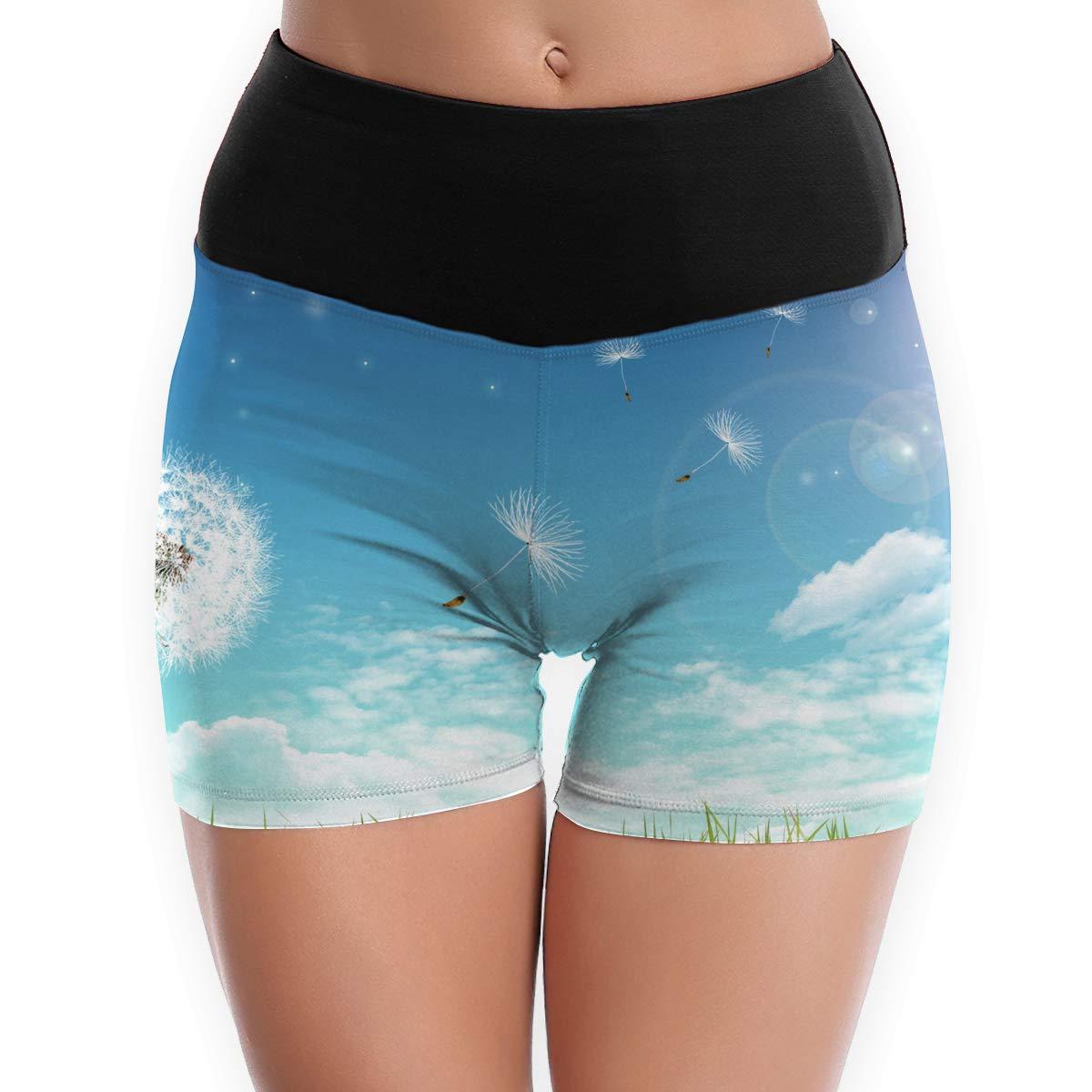 Kui Ju Womens Yoga Shorts Dandelion Art Picture High Waist Power Flex Workout Running Short