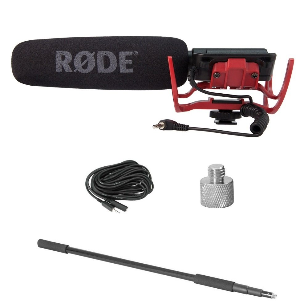 Rode VideoMic Microphone Pack with Rycote Lyre Mount, Boom Pole, Screw Adapter and Extension Cable by Rode