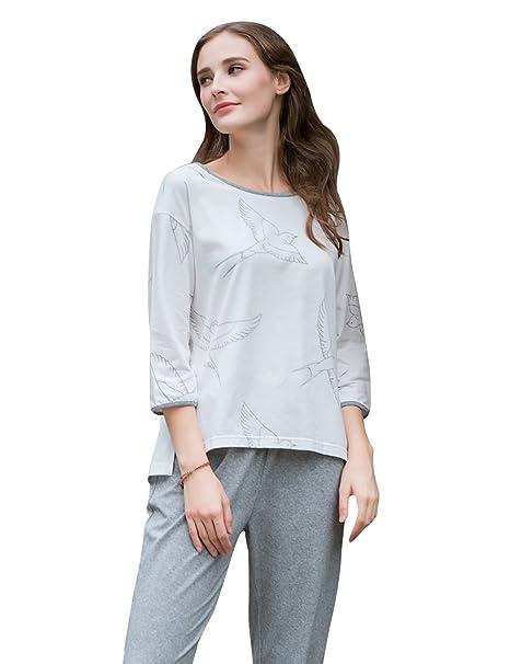 QianXiu Mujer 3/4 mangas Conjunto Pyjams Ropa de dormir de algodón Conjunto de pijama