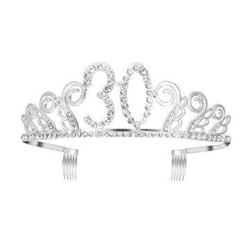 Lurrose 1 Pieza Coronas de Cumpleaños con Peine de Cristal ...