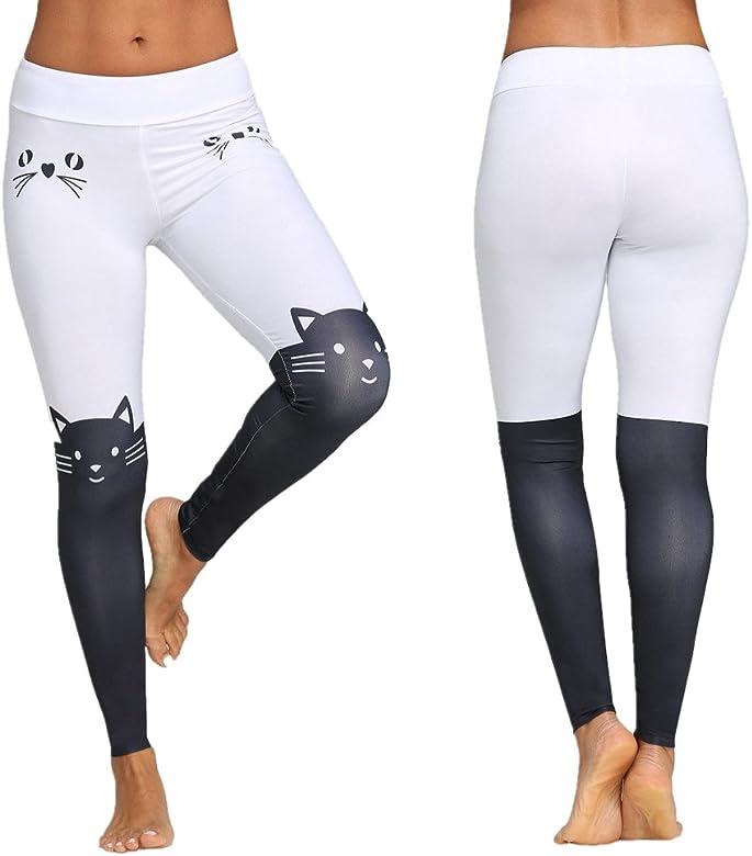 Deportivas Impresión de Gato Mujer Pantalones Yoga Mujeres Fitness ...