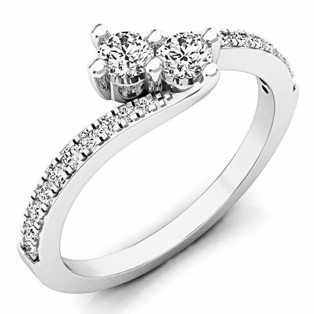 0.50 Carat (ctw) 14K White Gold Round White Diamond Two Stone Bridal Engagement Ring 1/2 CT (Size 7)