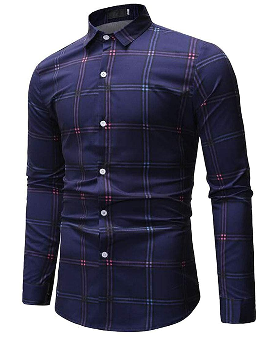 GRMO Men Plaid Big and Tall Long Sleeve Plus Size Cotton Loose Fit Checkered Shirt