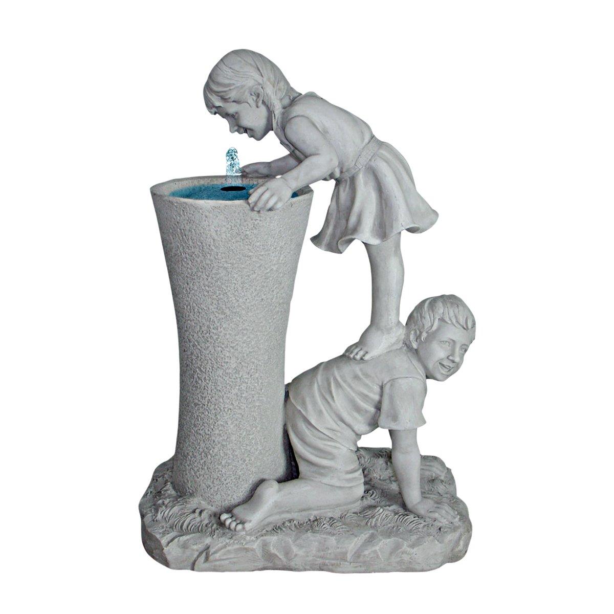 Design Toscano Get A Leg up Girl and Boy Sculptural Fountain Antique Stone