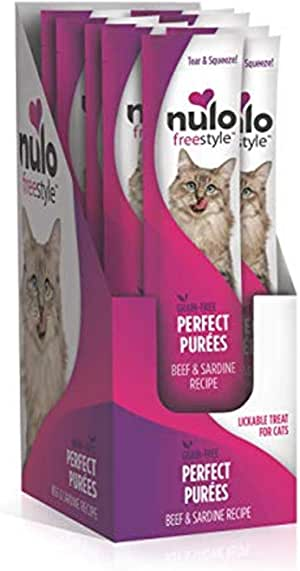 Nulo Freestyle Perfect Purees - Grain Free Cat Food, Case of 48 - Premium Cat Treats, 0.50 oz. Pouches - Meal Topper for Felines - High Moisture Content and No Preservatives