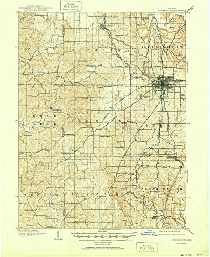 YellowMaps Bloomington in topo map, 1:62500 Scale, 15 X 15 Minute, Historical, 1910, Updated 1950, 20.8 x 17 in - ()
