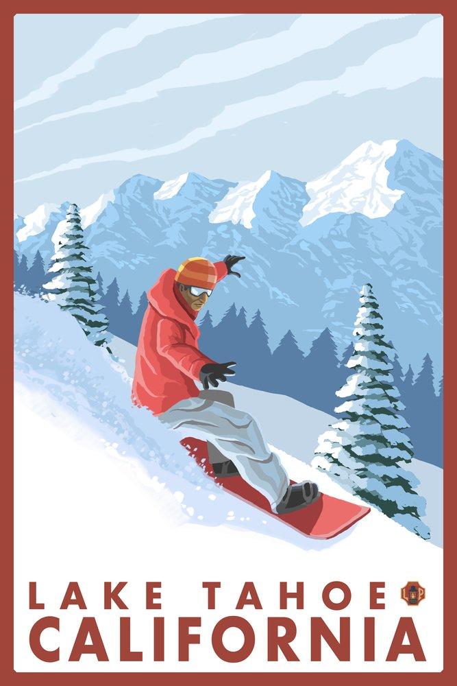 Snowboarderシーン – Lake Tahoe、カリフォルニア 16 x 24 Signed Art Print LANT-14216-709 B07B298MMG 16 x 24 Signed Art Print16 x 24 Signed Art Print