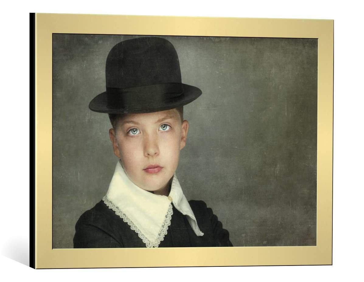 kunst für alle Bild mit Bilder-Rahmen: Monika Vanhercke Kenji - dekorativer Kunstdruck, hochwertig gerahmt, 90x60 cm, Kupfer gebürstet