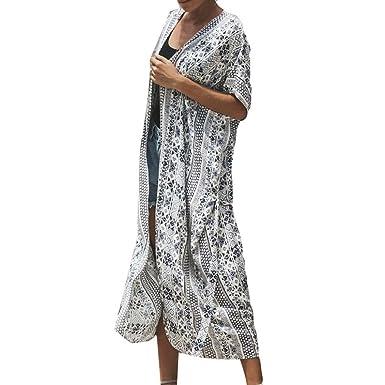 8fa2f11fba5c Youngh New Womens Coat Flower Print Short Sleeve Chiffon Fashion ...