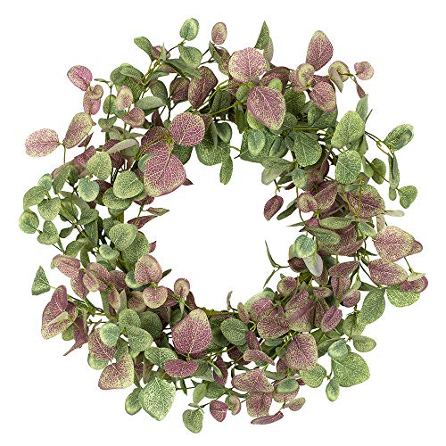 VGIA 18 inch Green Leaves Wreath Eucalyptus Wreath in Burgundy for Front Door Wall Hanging Window Wedding Party Home Decoration
