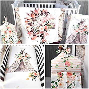 Baby Tribe Nursery Crib Bedding Aztec Tee Pee Coral and White Embossed Arrow with Coral Satin Trim Tribal