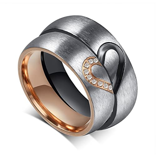 a17adab6d0 MMTTAO His & Hers Couple Promise Rings for Women Men Matching Puzzle Heart  316L Stainless Steel