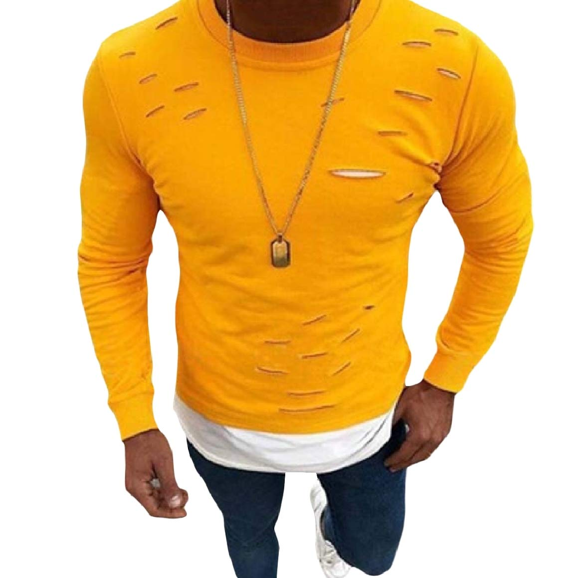 Romantc Mens Ripped Hole Pullover Crew Neck False Two Pieces Sweatshirts Top