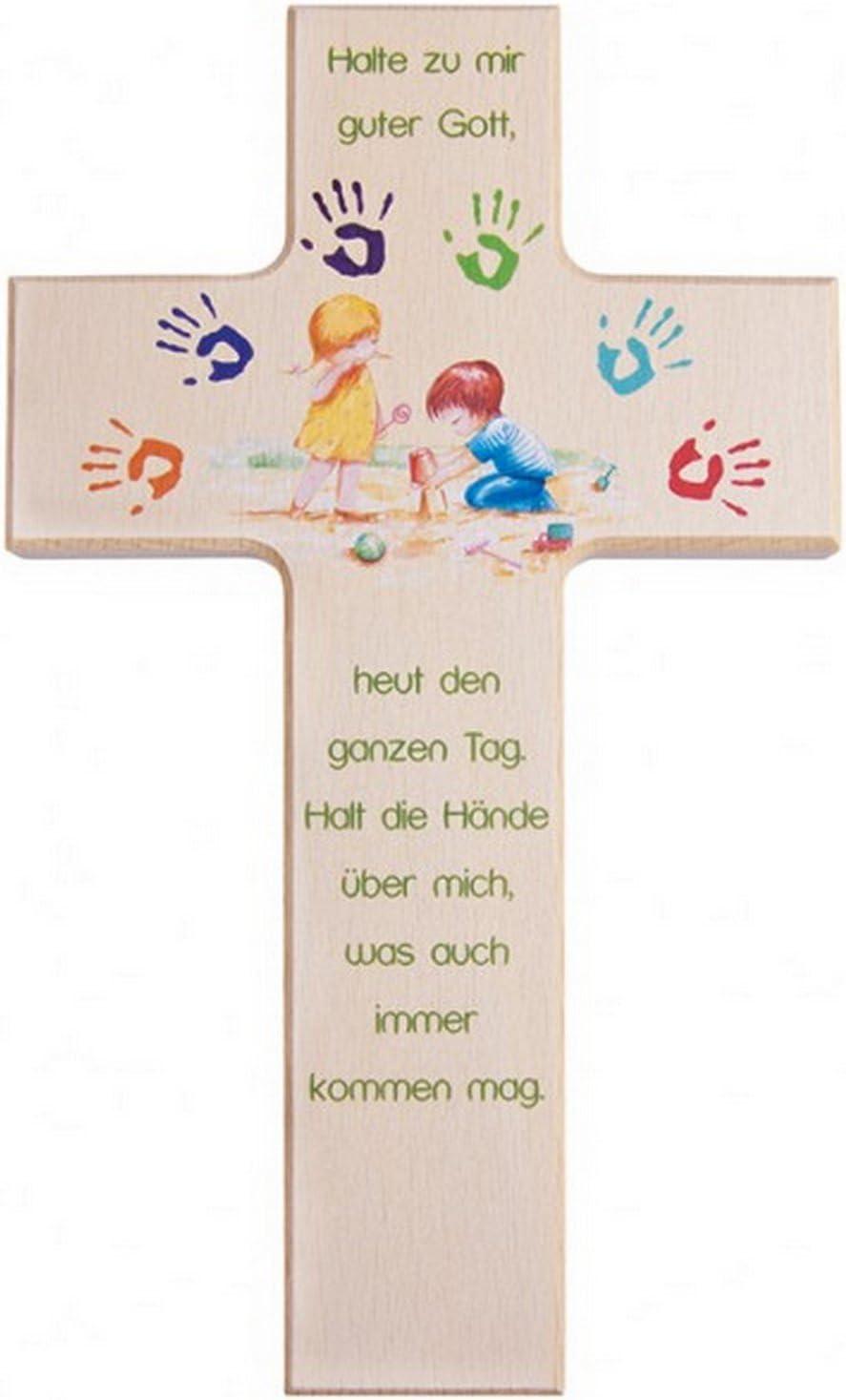 Croix chr/étienne en bois pour enfant gott besch/ütze mich 15 cm
