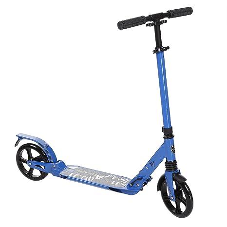 befied plegable Big Wheel Scooter Roller – Patinete infantil Roller Altura Ajustable aleación de aluminio, azul