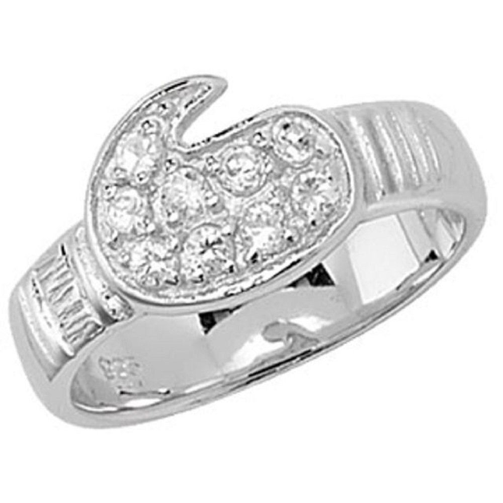 925 Sterling Silver Baby Children's Cubic Zirconia Boxing Glove Ring GNI SGR07