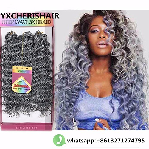 10inch 3Pcs/Pack Premium Synthetic Deep Wave Hair Extension Crochet Braids for Women Freetress Water Wave Synthetic Braiding Hair Bundles (10inch 1Pack, #Gray)