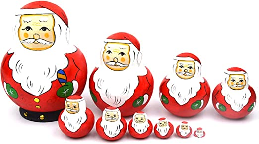 10pcs Russian Wooden Nesting Doll Set Christmas Santa Claus Hand Painted