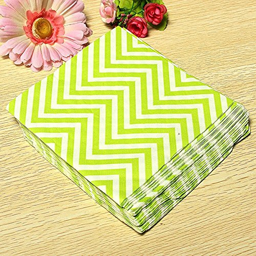BoatShop 22 PCS Colored Wave Pattern Paper Napkins 2 Layers Party Banquet, Green by BSK