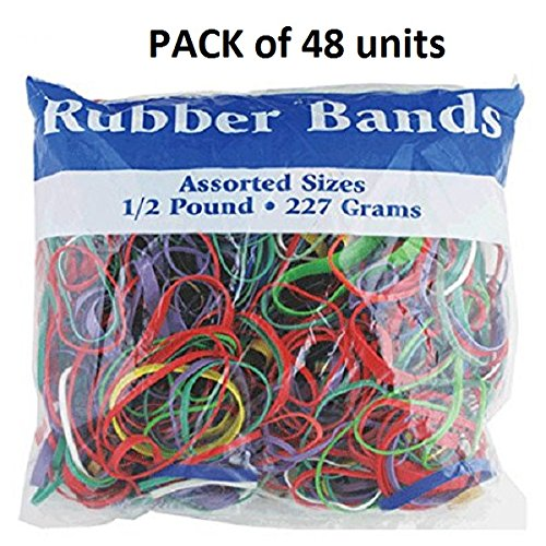 BAZIC Multicolor Rubber Bands for School, Home or Office (Assorted Dimensions 227g/0.5 lbs) 465-48P - Pack of 48