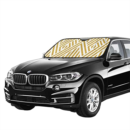 VTIUA Pare-Brise-Soleil Couverture Pare Soleil Gold Line Pattern Portable Universal Sunshade Keeps Vehicle Cooler for Car,SUV,Trucks,Minivan Automotive and Most Vehicle Sunshade 51 X 27 in