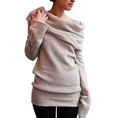 Nergivep Women Off Shoulder Cowl Neck Long Sleeve Sweater Knitted
