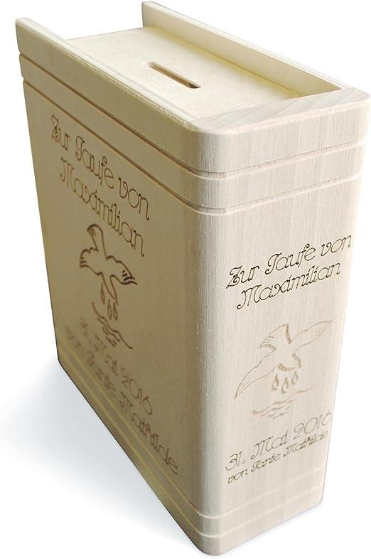 Geschenkbox Caja de Regalo de Madera Hucha en Forma de Libro para Bautizo, Incluye Llave y Grabado Gratuito: Amazon.es: Juguetes y juegos