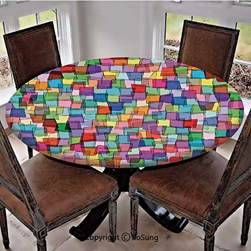 (Elastic Edged Polyester Fitted Table Cover,Mosaic Inspired Tile Pattern with Colorful Squares Cubes Energetic Artistic Design Decorative,Fits up to 36