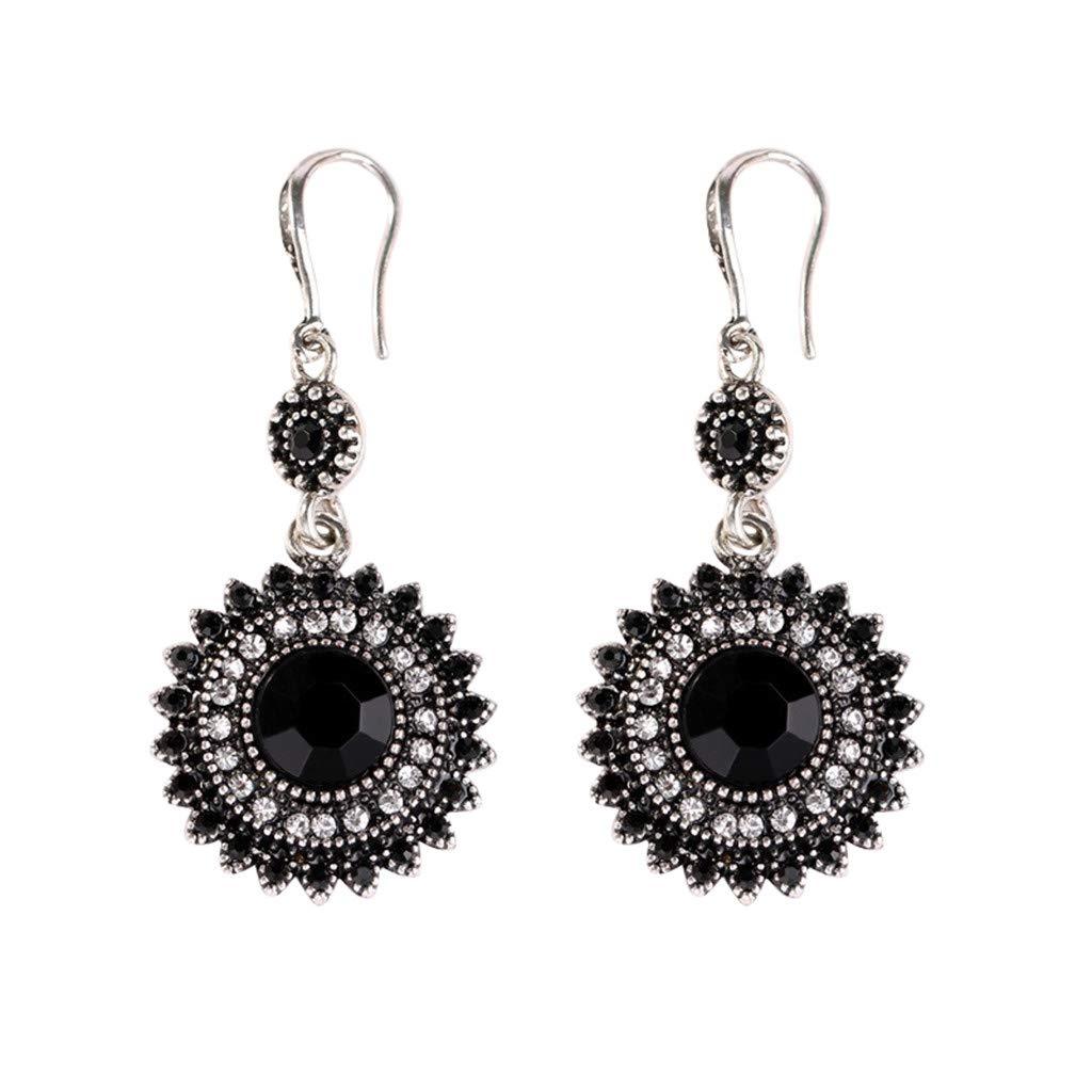 Onefa New Bohemian Ear Studs Earrings for Women Black Ethnic Fashion Jewelry Earrings