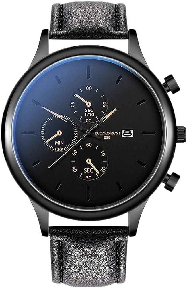 ღLILICATღ Reloj Multiesfera para Hombre de Cuarzo con Correa en Cuero Reloj de Hombre Reloj de Moda Cuero Fecha Reloj de Pulsera Relojes Deportivos