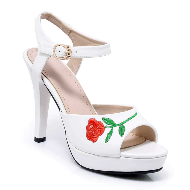 PU Black Thin High Heels Open Toe Sandals Summer Platform Women's shoes