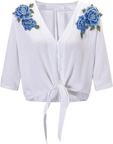 QHDZ Blusa de mujer Las mujeres azul apliques con cordones