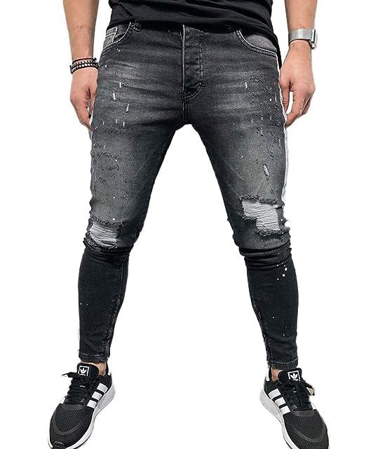 Amazon.com: SUNSIOM Pantalones vaqueros ajustados para ...