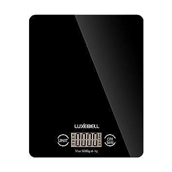 Báscula de Cocina Luxebell Balanza Digital de Pantalla LCD Táctil Sensible con Capacidad Máx. 5kg