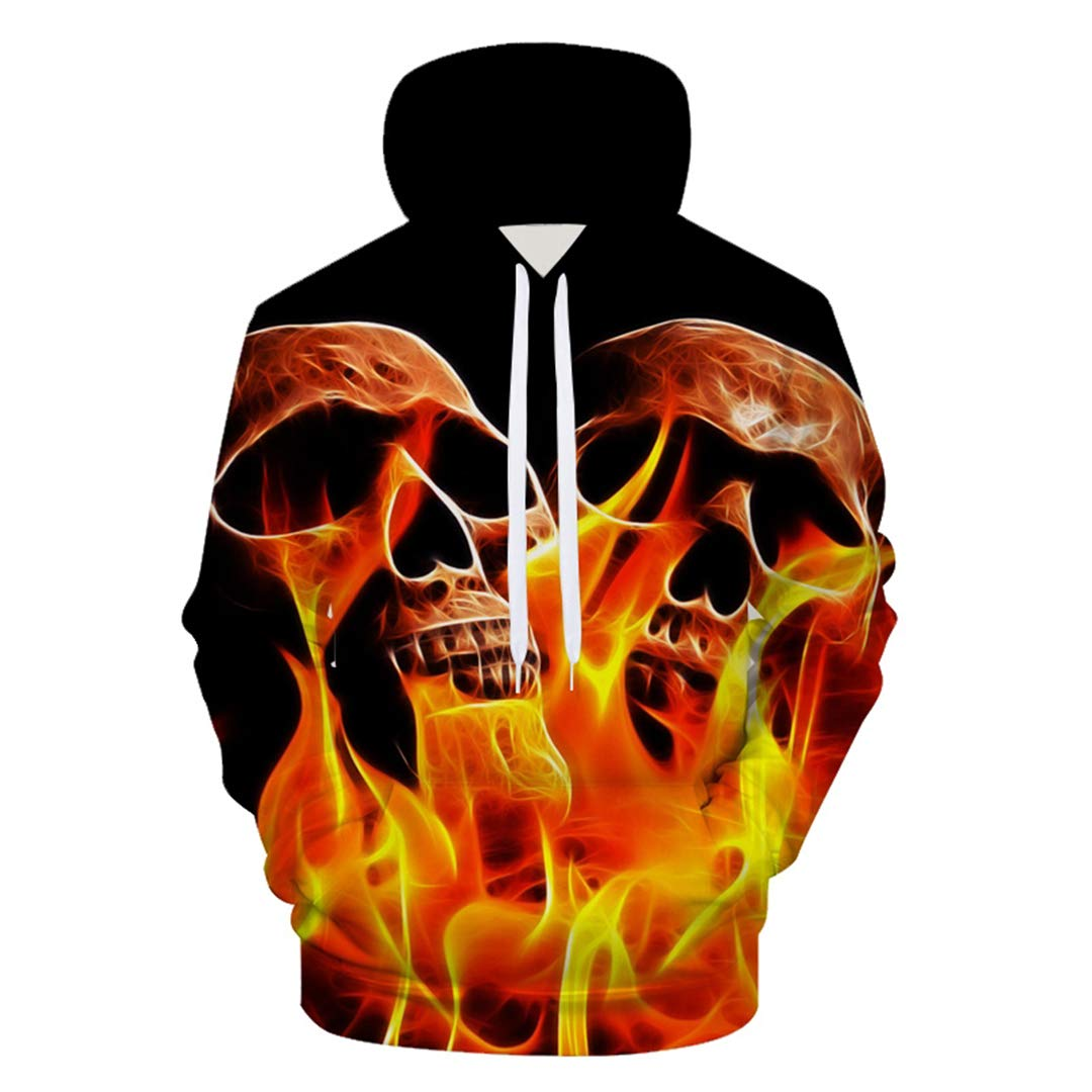 Amazon.com: 3D Fire Burning Skull Hoodies Skeleton Forest Fire Hoodies Sweatshirt Streetwear wear: Clothing