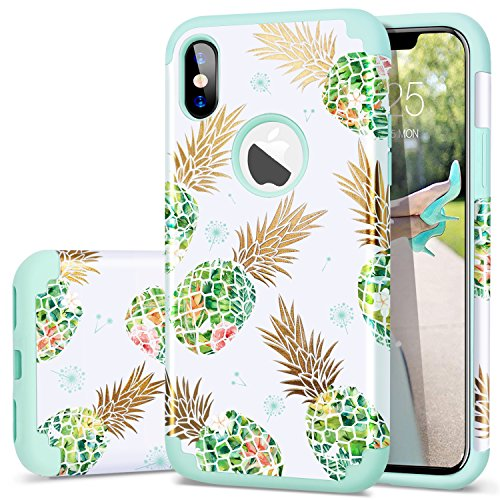 Fingic Case for iPhone Xs,iPhone X/iPhone 10 Case,Pineapple&Fresh Green Silicone Design [Support Wireless Charging] [Anti-Scratch] Hard PC Soft Rubber Protective Case for Apple iPhone X/XS 5.8